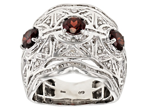 Photo of 1.84CTW ROUND RED GARNET, 1.07CTW ROUND & TAPERED BAGUETTE WHITE DIAMOND RHODIUM OVER SILVER RING - Size 7