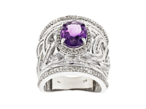 Photo of 2.78CT OVAL AFRICAN AMETHYST WITH 1.51CTW ROUND & TAPERED BAGUETTE DIAMOND RHODIUM OVER SILVER RING - Size 6