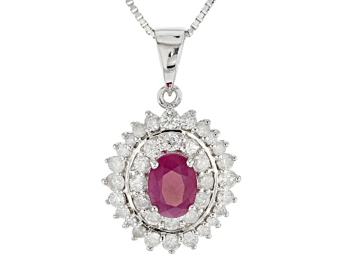 Photo of .80CT OVAL BURMESE RUBY WITH .77CTW ROUND WHITE DIAMOND RHODIUM OVER SILVER PENDANT WITH CHAIN