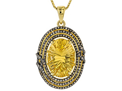Photo of 4.08CT OVAL BRAZILIAN CITRINE & .48CTW CHAMPAGNE DIAMOND 18K YELLOW OVER SILVER PENDANT WITH CHAIN