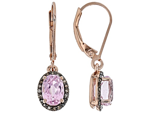 Photo of 1.90ctw kunzite with .09ctw champagne diamond accent 18k rose gold over silver dangle earrings