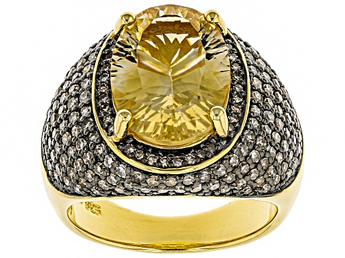 Photo of 4.42CT OVAL BRAZILIAN CITRINE & 1.24CTW CHAMPAGNE DIAMOND 18K YELLOW GOLD OVER  STERLING SILVER RING - Size 8