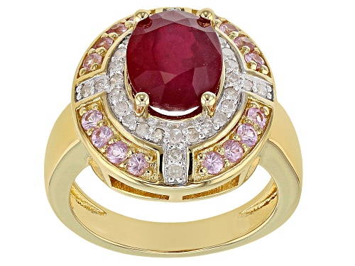 Photo of 2.98ct Mahaleo® Ruby w/ .54ctw Pink Sapphire & .25ctw White Diamond 18k Gold Over Silver Ring - Size 8