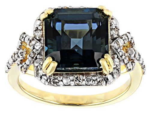 Photo of 4.62CT SQUARE OCTAGONAL LONDON BLUE TOPAZ WITH .26CTW WHITE DIAMOND 18K YELLOW GOLD OVER SILVER RING - Size 7