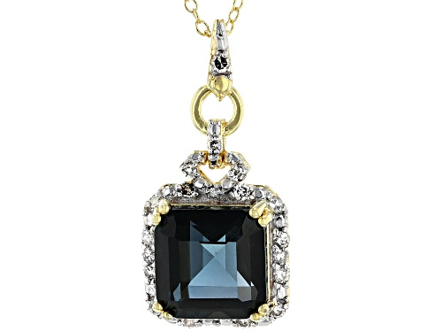 Photo of 4.62CT LONDON BLUE TOPAZ WITH .23CTW WHITE DIAMOND 18K YELLOW GOLD OVER SILVER PENDANT WITH CHAIN
