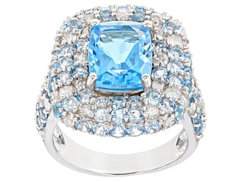 Photo of 5.47ctw Rectangular Cushion & Round Swiss Blue Topaz, .88ctw Diamond Rhodium Over Silver Ring - Size 6