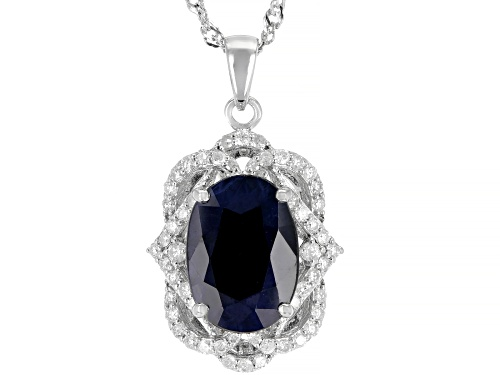 Photo of 5.95ct Blue Sapphire with .52ctw White Diamond Rhodium Over Sterling Silver Pendant with Chain