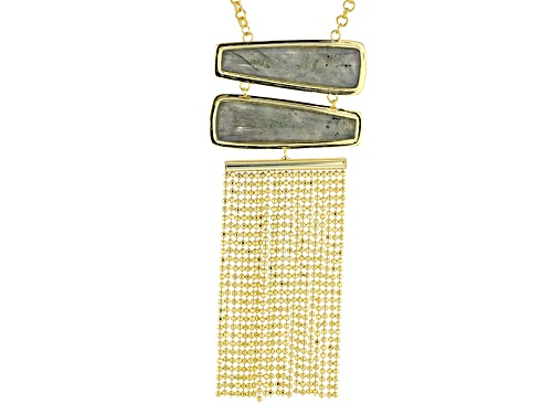 Photo of Moda Di Pietra™ Trapezoid Gray Labradorite 18k Yellow Gold Over Bronze Tassel Necklace - Size 30