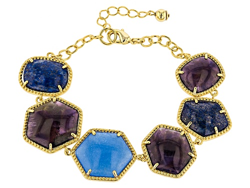Photo of Moda Di Pietra™ Amethyst, Lapis And Blue Quartzite 18k Yellow Gold Over Bronze Station Bracelet - Size 8
