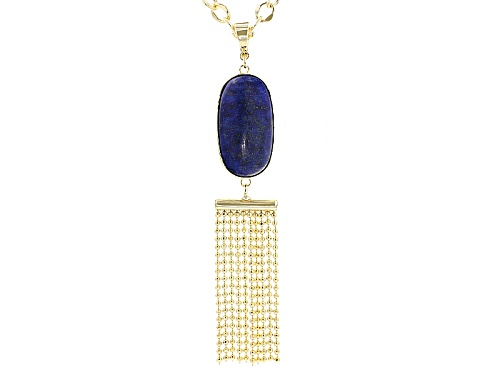 Photo of Moda Di Pietra™ 32x17mm Oval Cabochon Lapis 18k Gold Over Bronze Tassel Enhancer With Chain