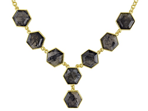 Photo of Moda Di Pietra™ 25.52ctw Hexagonal Rutilated Quartz 18k Yellow Gold Over Bronze Necklace - Size 18