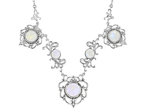 Photo of 8mm, 10mm and 12mm Round Rainbow Moonstone Rhodium Over Sterling Silver Necklace - Size 18