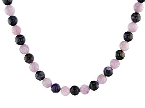 Photo of 10mm Round Kunzite and 10mm Round Charoite Knotted Bead Strand Sterling Silver Necklace - Size 18