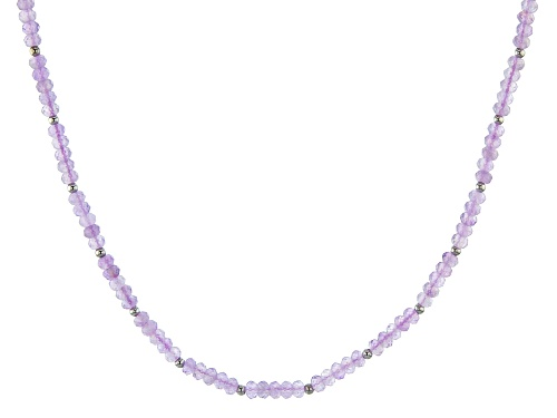 Photo of 37.20ctw Brazilian Lavender Amethyst Rondelle Strand Silver Bead Necklace - Size 18