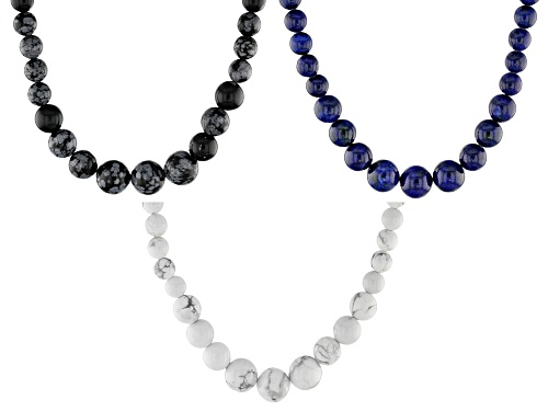 Photo of 4-12mm Round Lapis Lazuli, Howlite, & Snowflake Obsidian Set of 3 Graduated Bead Silver Necklaces