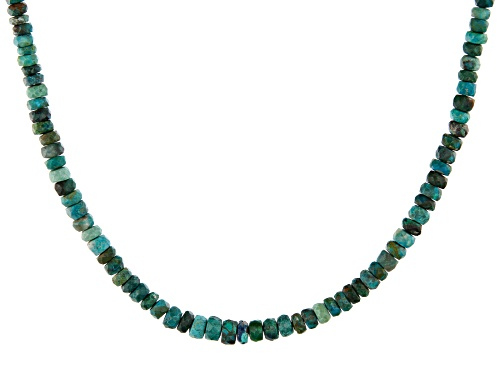 Photo of 4-6mm Graduated Chrysocolla Rondelle Bead Sterling Silver Necklace - Size 18