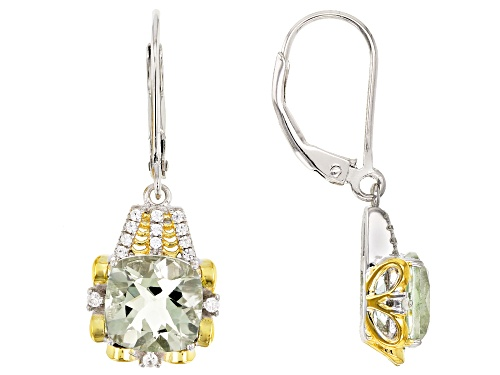 3.90ctw Square Cushion Prasiolite & .20ctw White Zircon Rhodium Over Silver Two-Tone Dangle Earrings