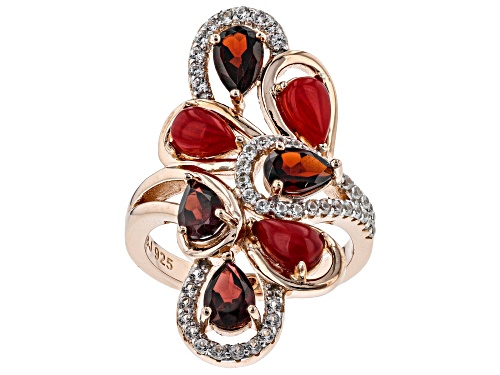 Photo of 6x4mm Red Coral, 1.65ctw Vermelho Garnet™ and .36ctw White Zircon 18k Rose Gold Over Silver Ring - Size 8
