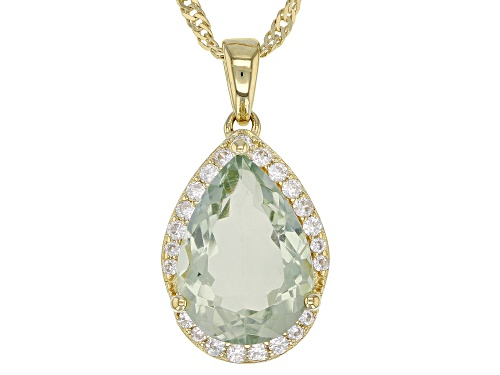 Photo of 4.25ct Pear Shape Prasiolite W/ .41ctw Zircon 18k Gold Over Silver Pendant W/ Chain