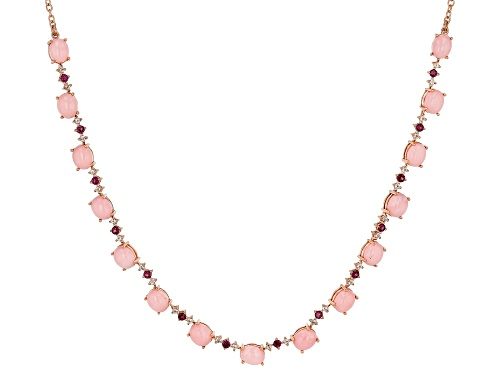 Photo of 8x6mm Peruvian Pink Opal, .94ctw Rhodolite & .71ctw White Topaz 18k Rose Gold Over Silver Necklace - Size 20