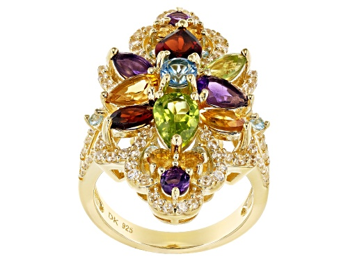 Photo of 4.69ctw Mixed Shape Multi-Gemstone 18k Yellow Gold Over Sterling Silver Cluster Ring - Size 6