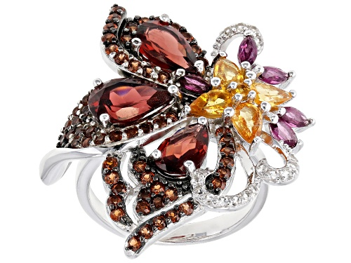 Photo of 4.29ctw Vermelho Garnet™ W/1.65ctw Spessartite, Rhodolite & White Zircon Rhodium Over Silver Ring - Size 6