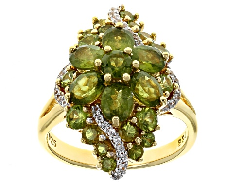 Photo of 3.30CTW OVAL AND ROUND VESUVIANITE WITH .18CTW ROUND WHITE ZIRCON 18K YELLOW GOLD OVER SILVER RING - Size 8