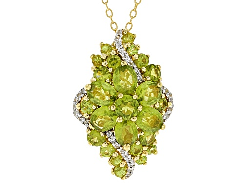 Photo of 3.30CTW OVAL AND ROUND VESUVIANITE WITH .19CTW WHITE ZIRCON 18K GOLD OVER SILVER PENDANT WITH CHAIN