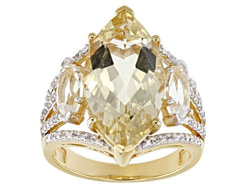 Photo of 5.52ct Yellow Labradorite, .90ctw Crystal Quartz & .23ctw White Zircon 18k Gold Over Silver Ring - Size 8