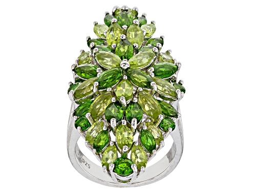 Photo of 3.91ctw Marquise & Round Chrome Diopside & 3.99ctw Manchurian Peridot(TM) Rhodium Over Silver Ring - Size 6