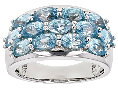 Photo of 4.21ctw oval blue zircon rhodium over sterling silver band ring - Size 7