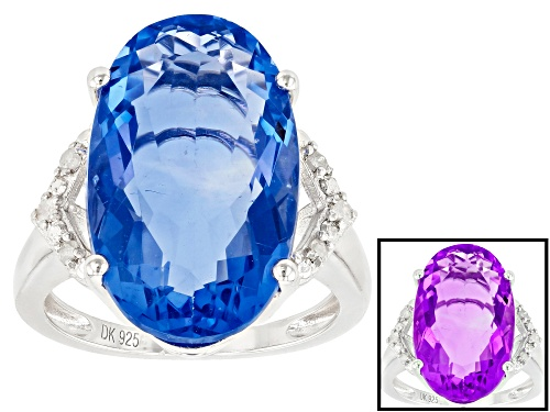 Photo of 11.05ct Oval Color Change Fluorite With Round Diamond Accent Rhodium Over Silver Ring - Size 6