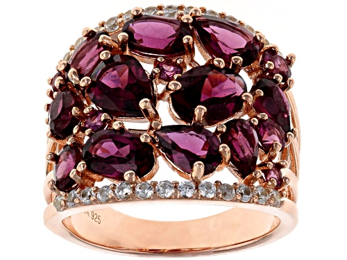 Photo of 5.24ctw Mixed Shape Raspberry Color Rhodolite & .44ctw White Zircon 18k Rose Gold Over Silver Ring - Size 7