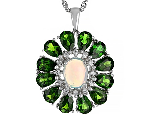 Photo of .93ct Ethiopian Opal, 4.88ctw Chrome Diopside and  White Zircon Rhodium Over Silver Pendant W/Chain