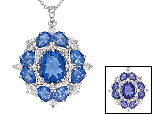 Photo of 10.21CTW COLOR CHANGE BLUE FLUORITE & 1.53CTW WHITE TOPAZ RHODIUM OVER SILVER PENDANT WITH CHAIN