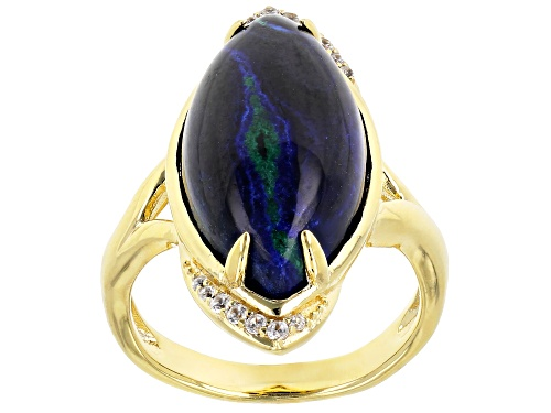 Photo of 20x11mm Marquise Azurmalachite & .16ctw Zircon 18k Yellow Gold Over Silver Ring - Size 7