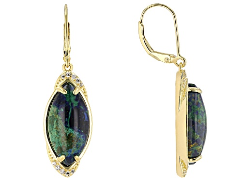 Photo of 20x10mm Marquise Azurmalachite & .23ctw Zircon  18k Yellow Gold Over Silver Earrings