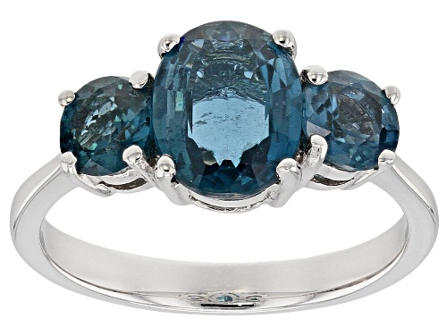 Photo of 3.01CTW ROUND AND OVAL BLUE CHROMIUM KYANITE RHODIUM OVER STERLING SILVER 3-STONE RING - Size 7