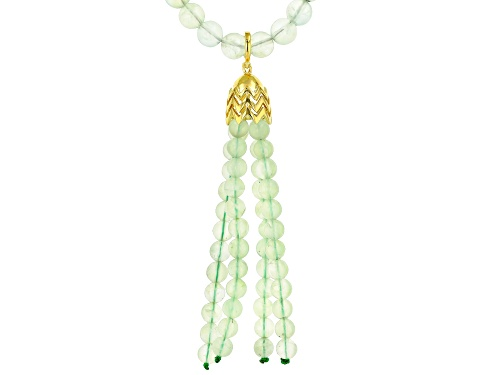 Photo of 8mm Round Prehnite Bead Necklace with 6mm Prehnite Bead Tassel Enhancer, 18K Gold over Silver - Size 24