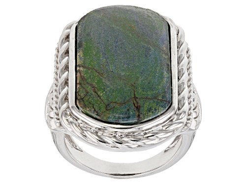 Photo of 25x14mm Rectangular Cushion Azurmalachite Rhodium Over Sterling Silver Solitaire Ring - Size 6