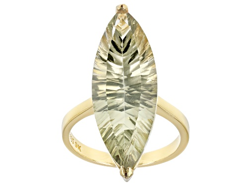 Photo of 10.27ct Marquise Quantum Cut(R) Prasiolite 18k Yellow Gold Over Silver Solitaire Ring - Size 7