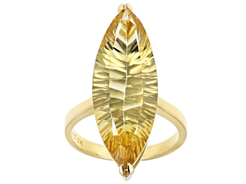 Photo of 10.27ct Quantum Cut(R) Golden Citrine 18k Yellow Gold Over Sterling Silver Solitaire Ring - Size 7