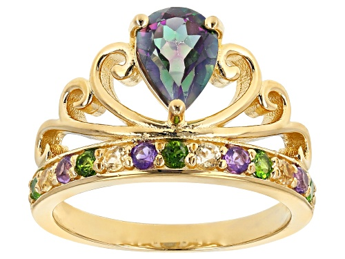 Photo of 1.23ct Multi-Color Topaz With .40ctw Chrome Diopside, Amethyst And Citrine 18k Gold Over Silver Ring - Size 8