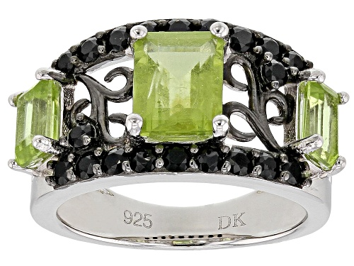 Photo of 2.72ctw Emerald Cut Manchurian Peridot(TM) W/ .68ctw Black Spinel Rhodium Over Silver Ring - Size 7
