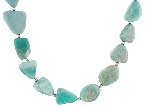 Photo of Free-Form Amazonite Rhodium Over Sterling Silver Necklace - Size 20