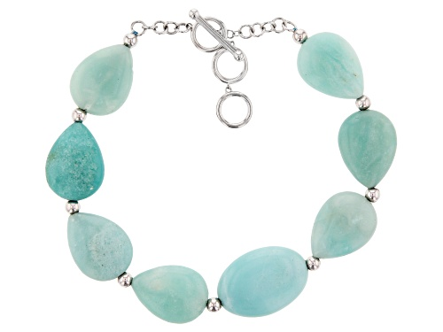 Photo of Free-Form Amazonite Rhodium Over Sterling Silver Bracelet - Size 7.25