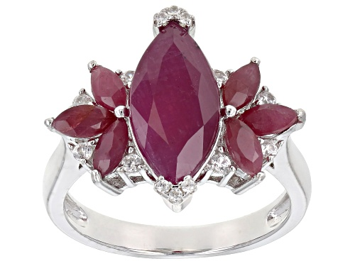 Photo of 4.39ctw Marquise Indian Ruby & .17ctw Round White Zircon Rhodium Over Silver Ring - Size 6