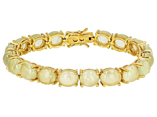 10x8mm oval prehnite cabochon 18k yellow gold over sterling silver tennis bracelet. - Size 8