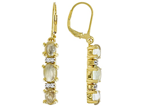 Photo of 7x5mm & 6x4mm Oval Prehnite With .05ctw White Zircon 18k Gold Over Silver 3-Stone Dangle Earrings
