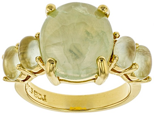 Photo of 14x12mm and 6x4mm Oval Prehnite 18k Yellow Gold Over Sterling Silver Ring - Size 6